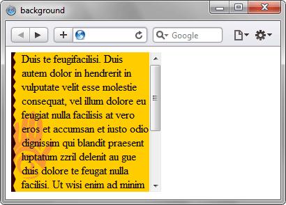 Вид фона и фонового рисунка в блоке фиксированного размера