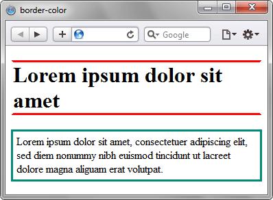 Использование свойства border-color