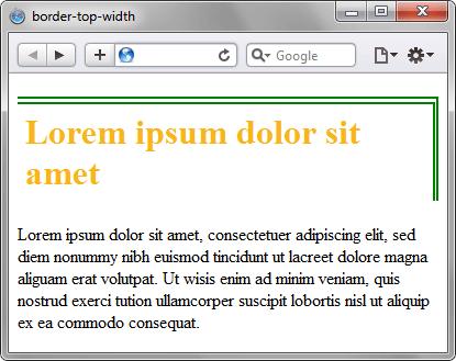 Применение свойства border-top-width